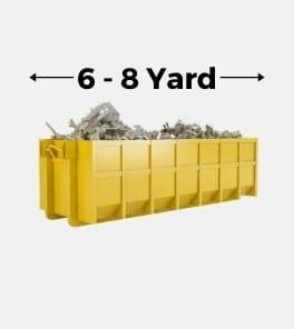 Image depicts a 6 - 8 yard rental bin from Bins Toronto