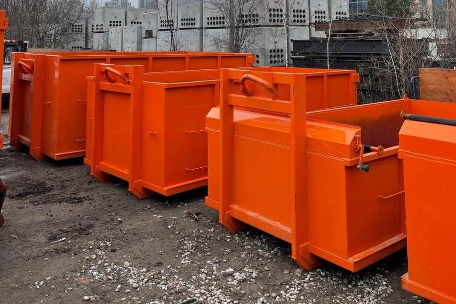 Image depicts different rental bin options from Bins Toronto